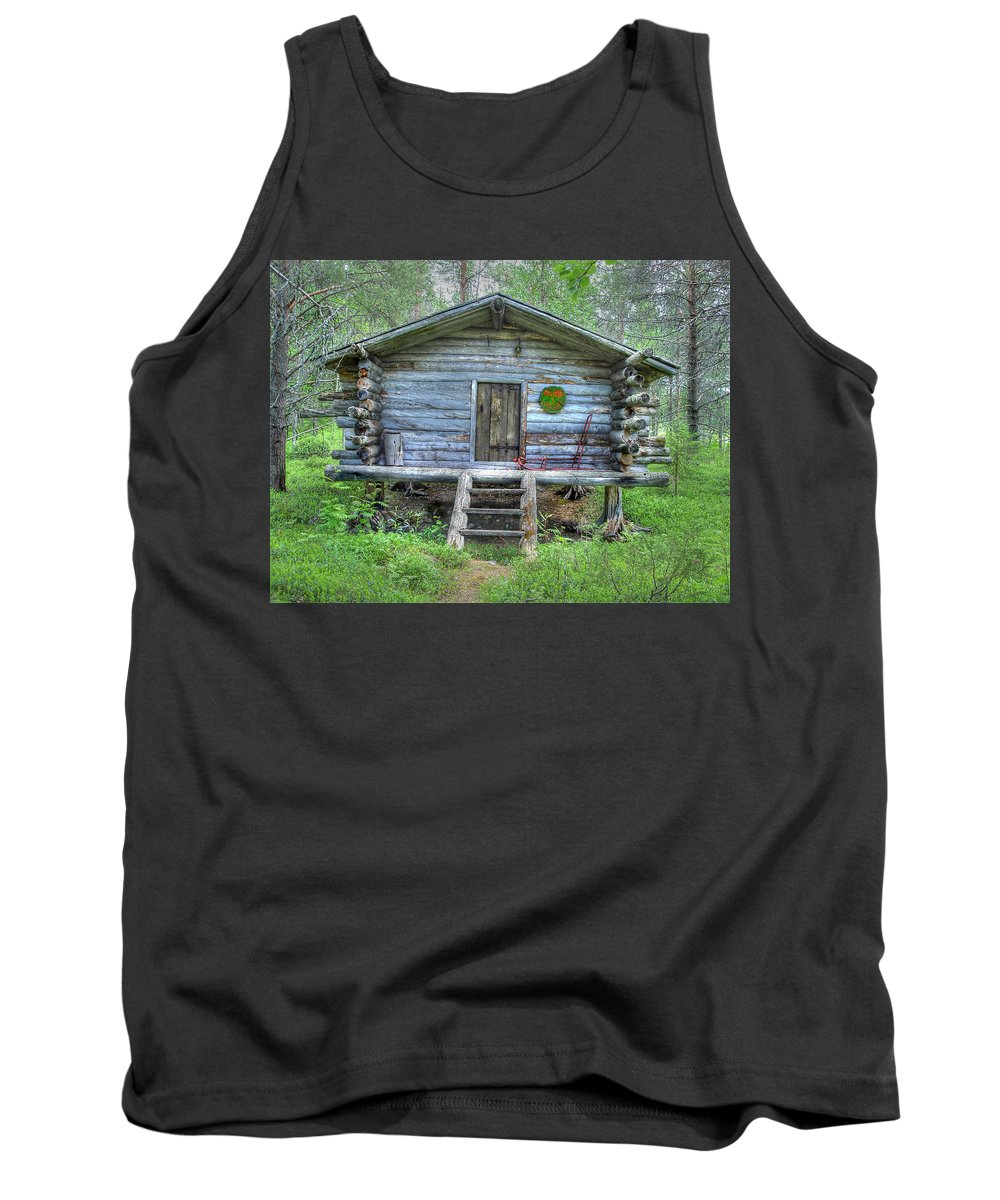 Rustic Tank Top featuring the photograph Cabin In Lapland Forest by Merja Waters