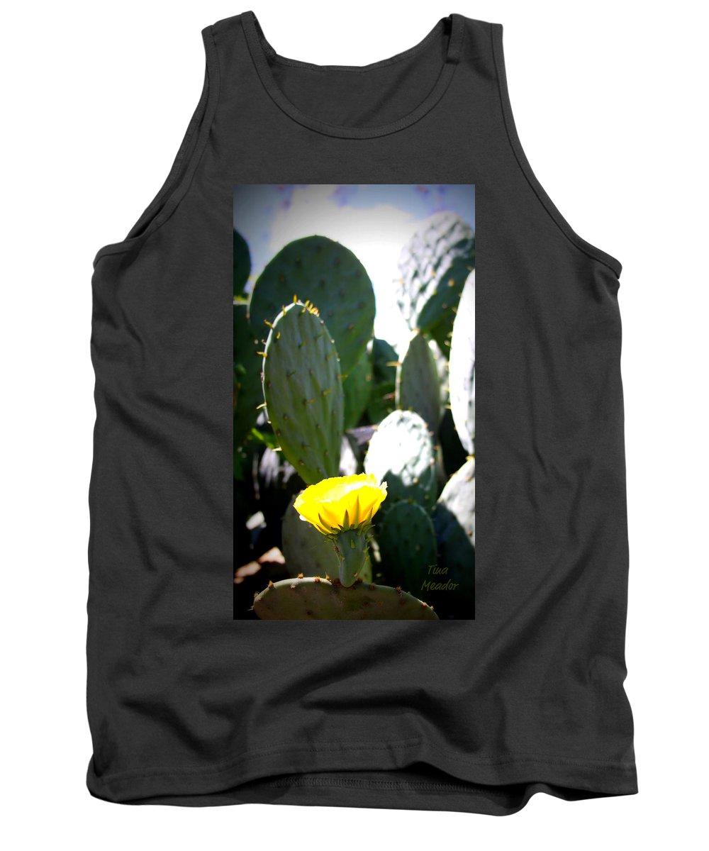 Cactus Tank Top featuring the photograph Cactus Bloom by Tina Meador
