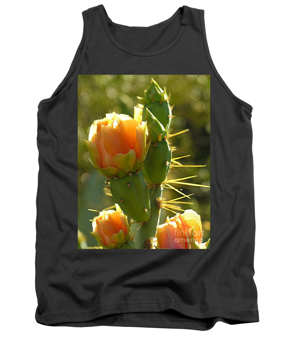 Prickle Pear Cactus Tank Top featuring the digital art Cactus Buds by Diane Greco-Lesser