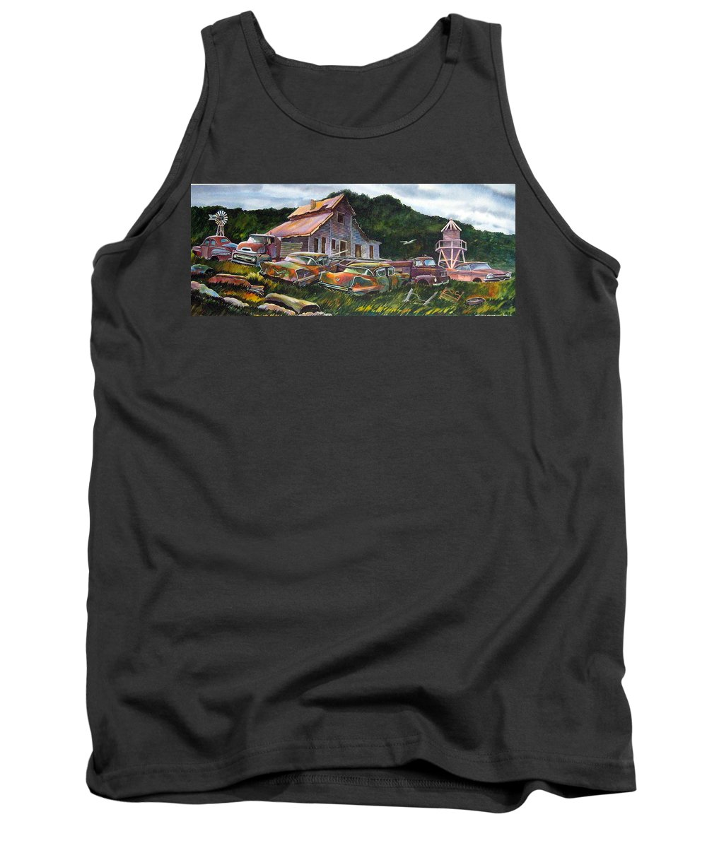 Cadillacs Tank Top featuring the painting Cadillac Ranch by Ron Morrison