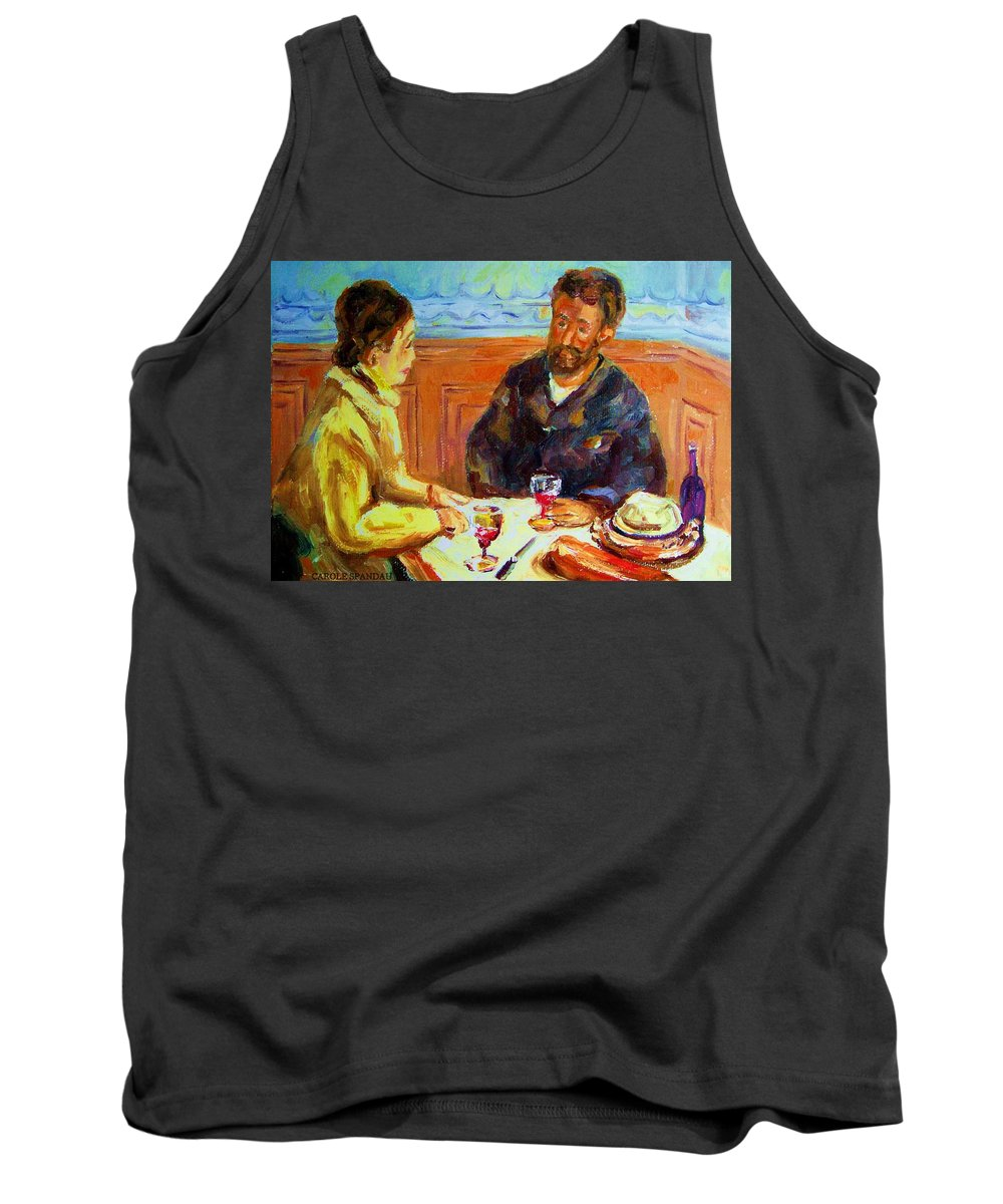 Cafe Scenes Tank Top featuring the painting Cafe Homage De Pierre Auguste by Carole Spandau