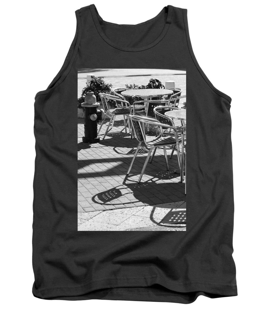 Fire Hydrant Tank Top featuring the photograph Cafe Hydrant by Rob Hans