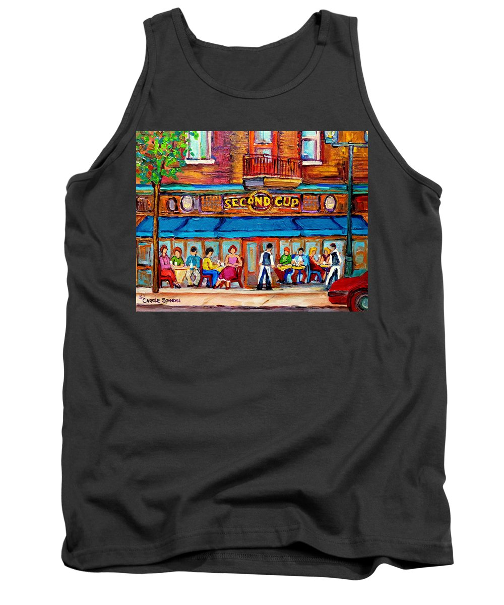 Cafe Second Cup Terrace Montreal Street Scenes Tank Top featuring the painting Cafe Second Cup Terrace by Carole Spandau