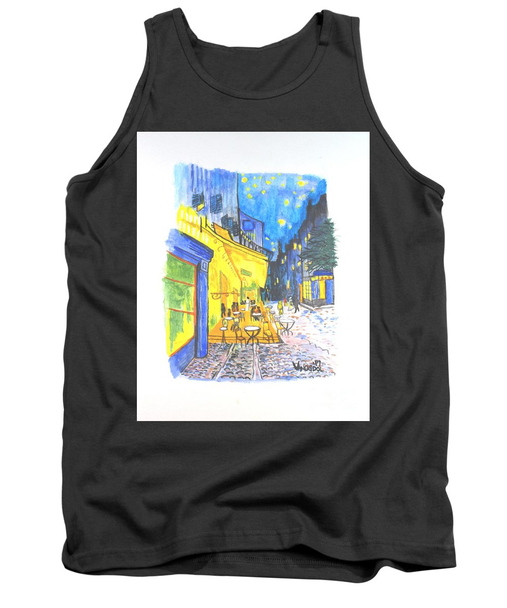 Vincent Tank Top featuring the painting Cafe Terrace At Night - Van Gogh by Scott D Van Osdol