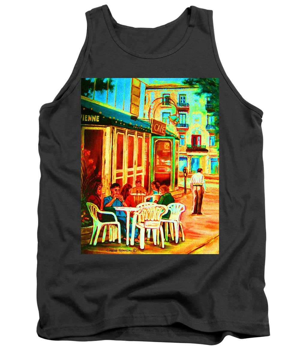 Cafes Tank Top featuring the painting Cafe Vienne by Carole Spandau