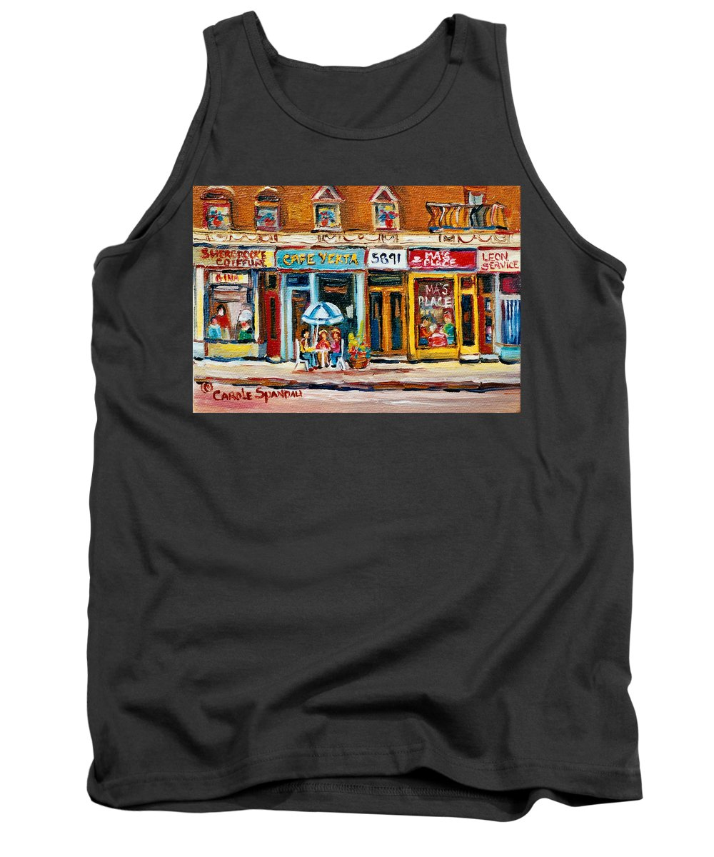 Cafes Tank Top featuring the painting Cafe Yenta And Ma's Place by Carole Spandau