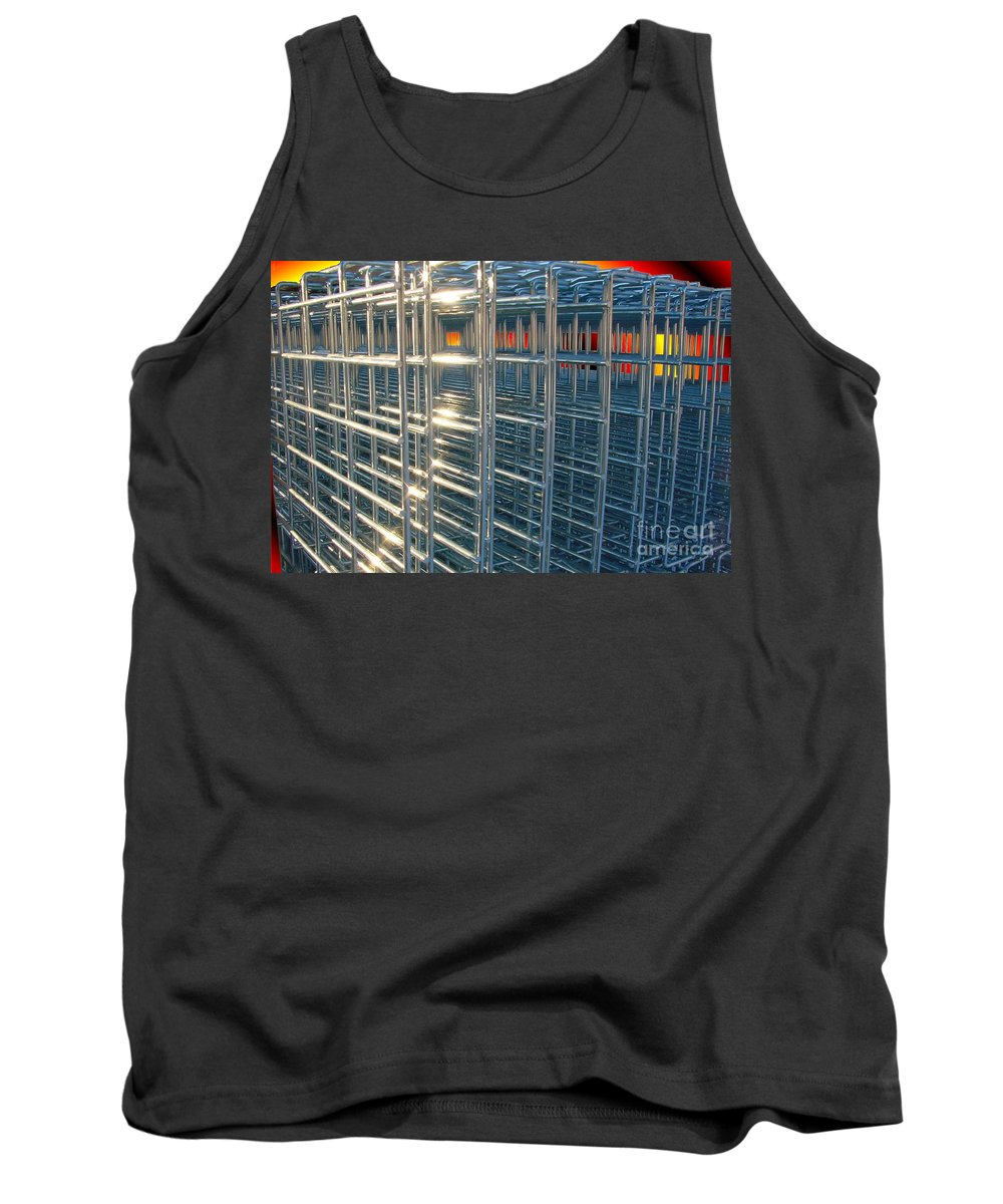 Wire Art Tank Top featuring the digital art Caged Fire by Ron Bissett
