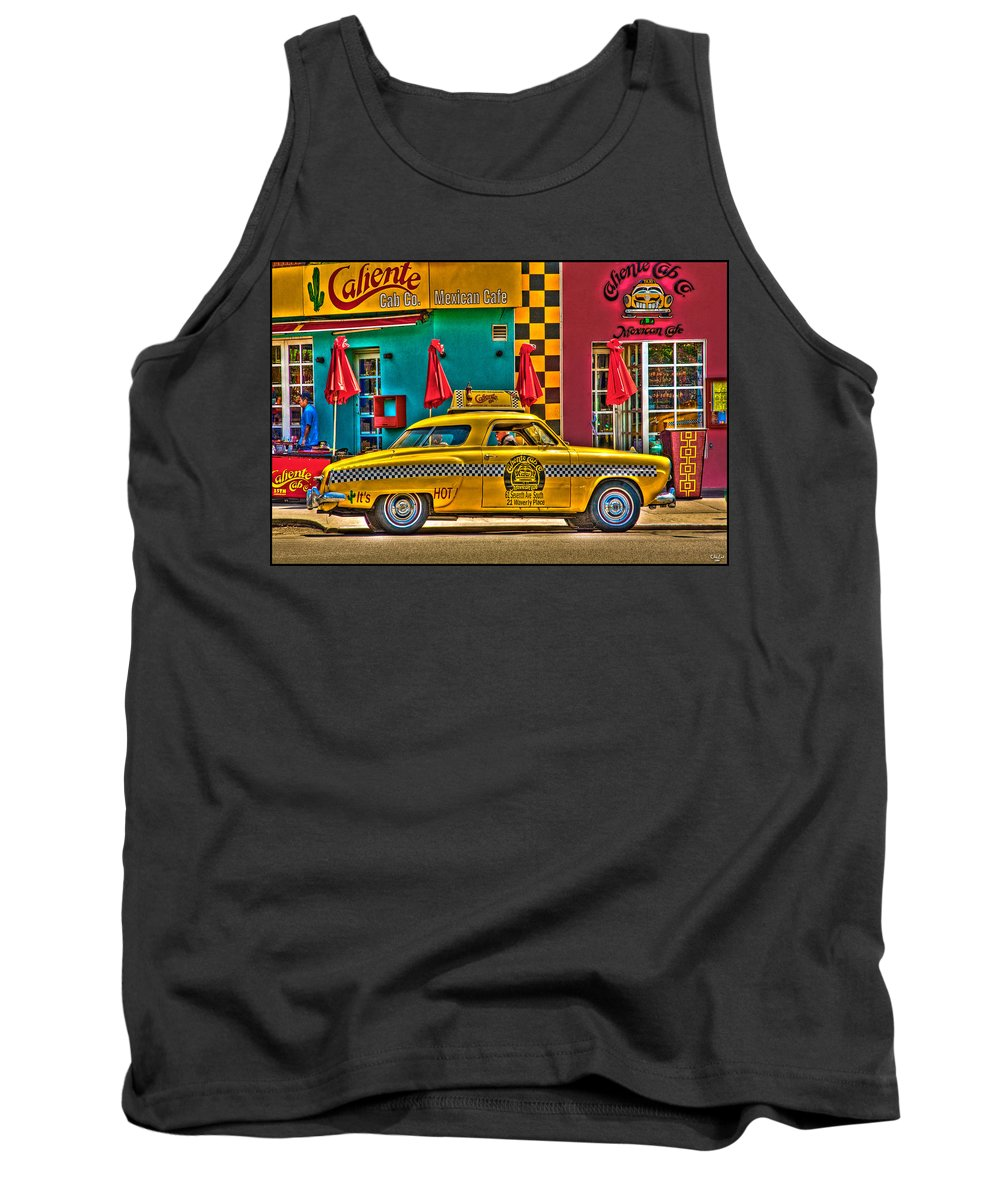 Caliente Tank Top featuring the photograph Caliente Cab Co by Chris Lord