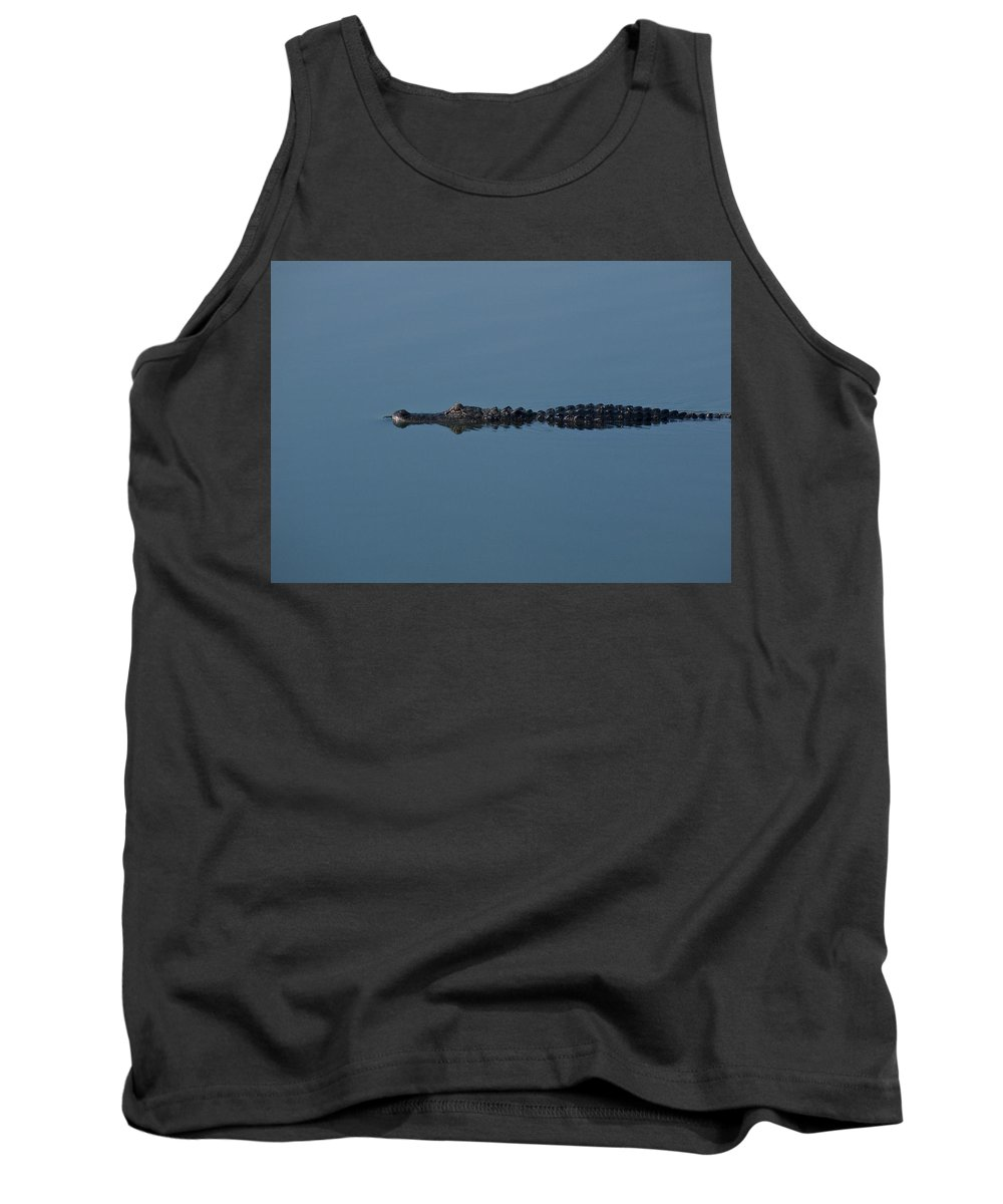 Alligator Tank Top featuring the photograph Calm Water Cruise by Steven Sparks