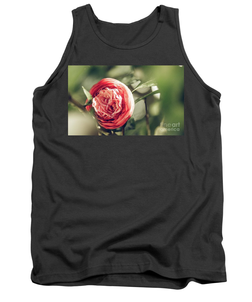 Closeup Tank Top featuring the photograph Camellia 3 by Andrea Anderegg