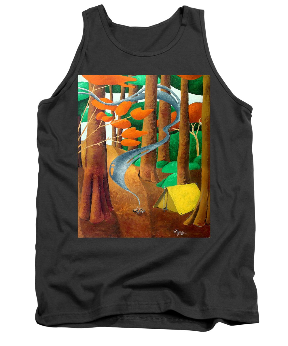 Landscape Tank Top featuring the painting Camping - Through The Forest Series by Richard Hoedl