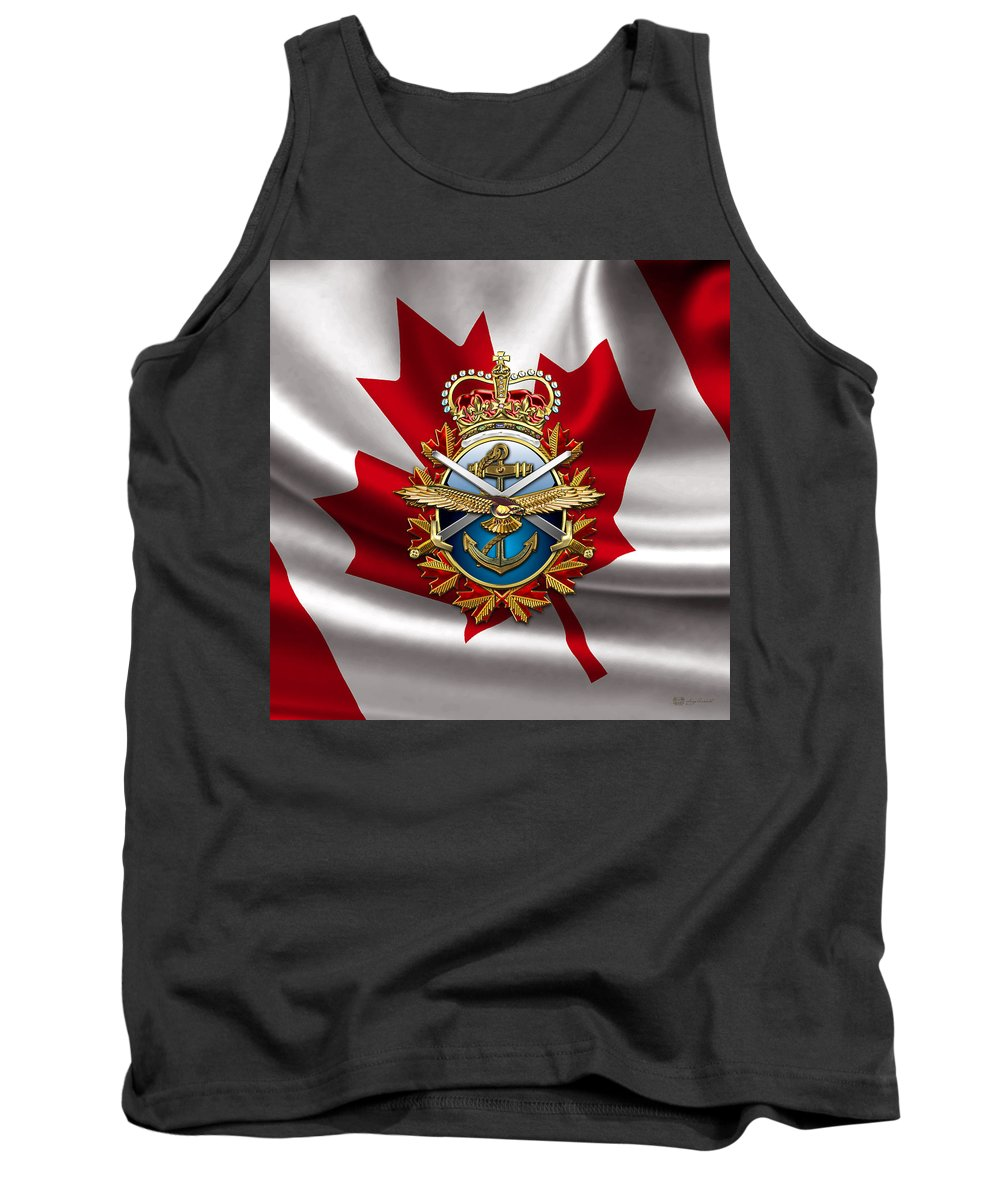 Military Insignia 3d By Serge Averbukh Tank Top featuring the photograph Canadian Forces Emblem over Flag by Serge Averbukh