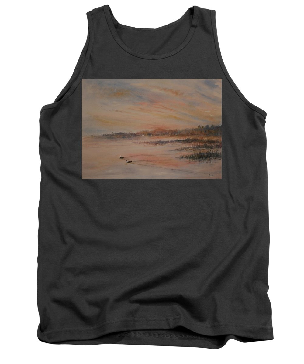 Landscape;geese;birds; Marshes; Sunset Tank Top featuring the painting Canadian Geese At Sunset by Ben Kiger
