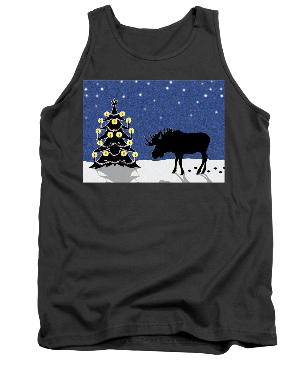Moose Tank Top featuring the digital art Candlelit Christmas Tree And Moose In The Snow by Nancy Mueller
