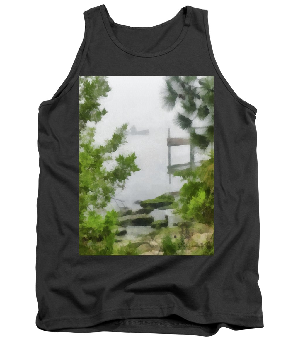 Lagoon Tank Top featuring the digital art Canoe In Lake Fog by Francesa Miller
