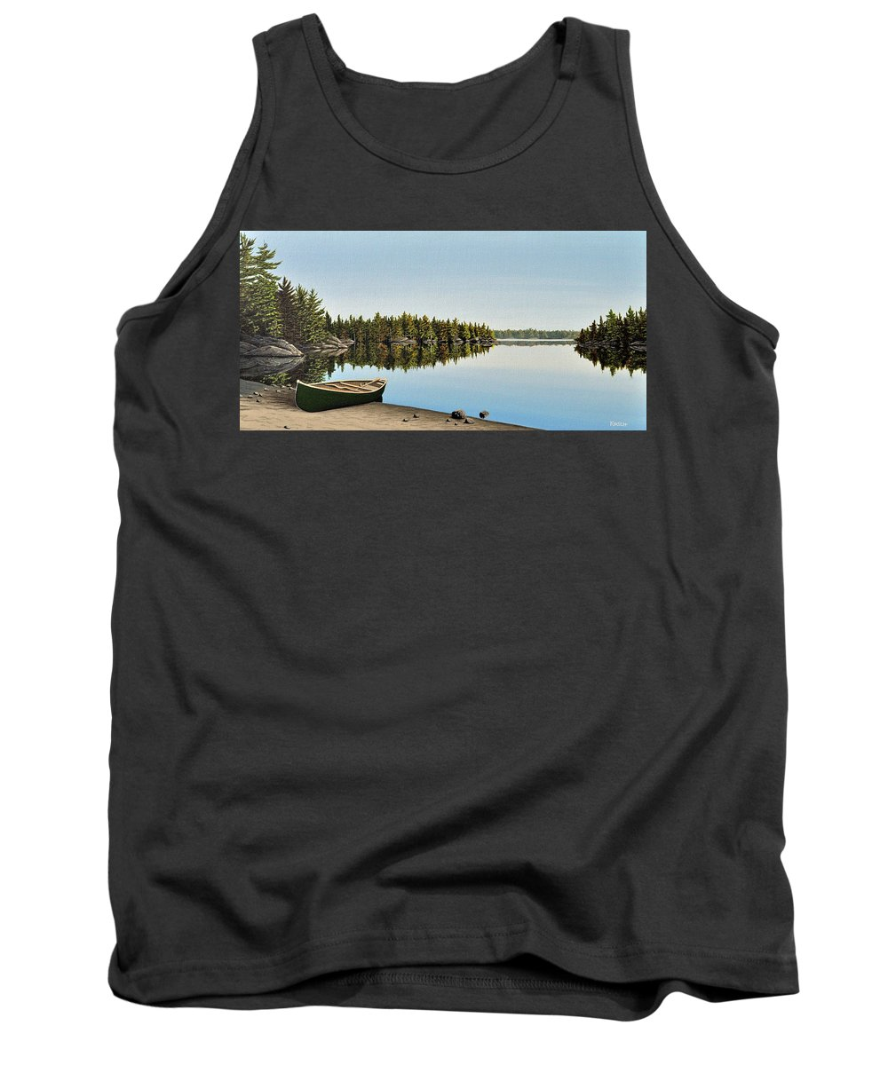 Canoe Tank Top featuring the painting Canoe The Massassauga by Kenneth M Kirsch