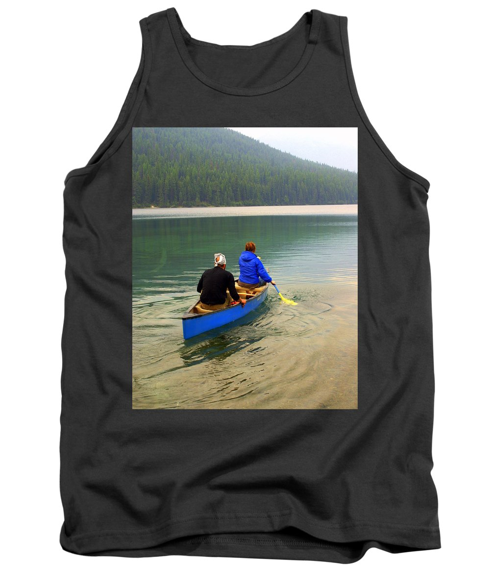 Glacier National Park Tank Top featuring the photograph Canoeing Glacier Park by Marty Koch