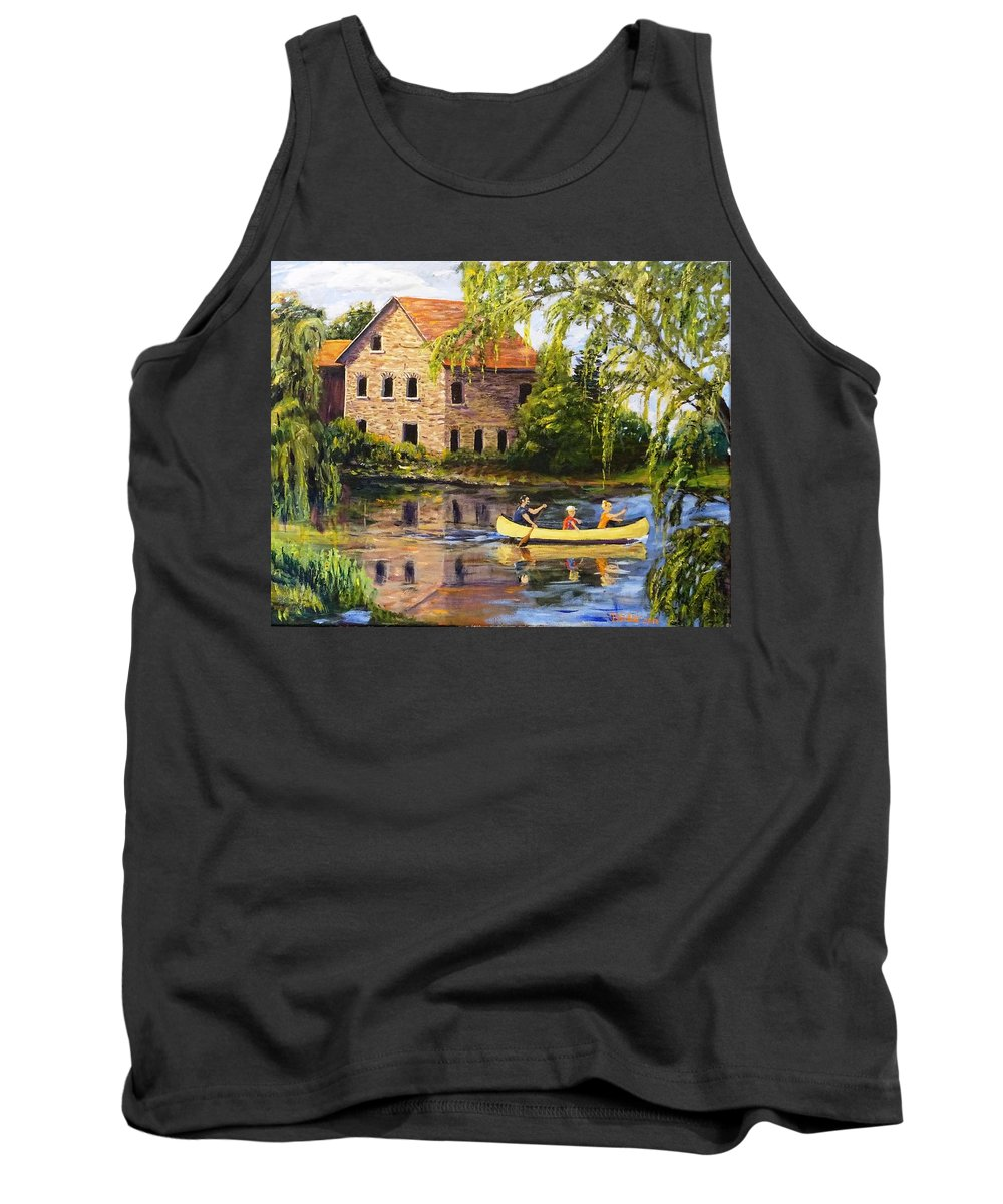 Canoe Tank Top featuring the painting Canoeing Past The Mill by Brent Arlitt