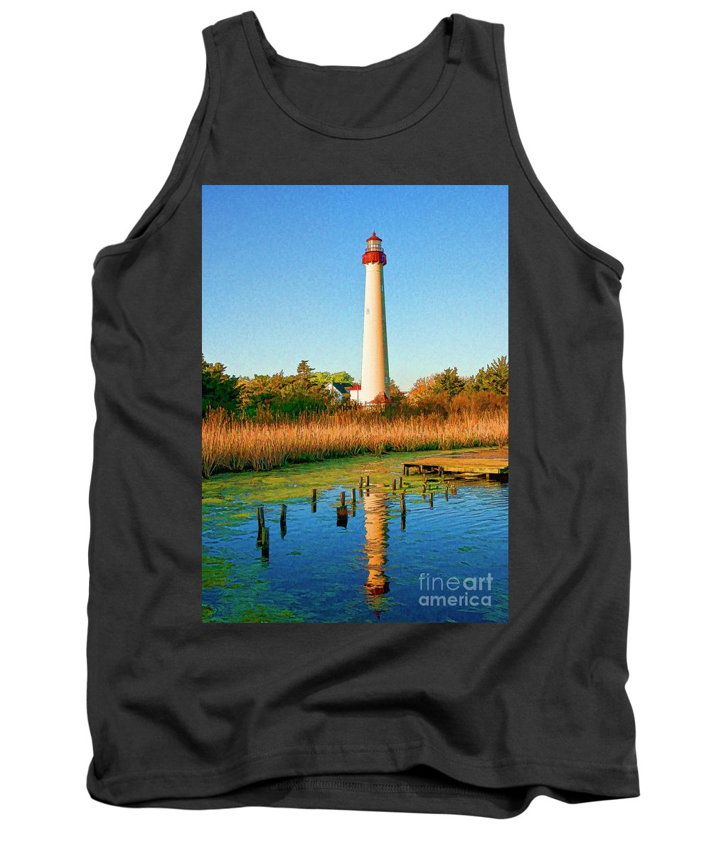 Reflection Tank Top featuring the digital art Cape May Point Lighthouse by John Steiger