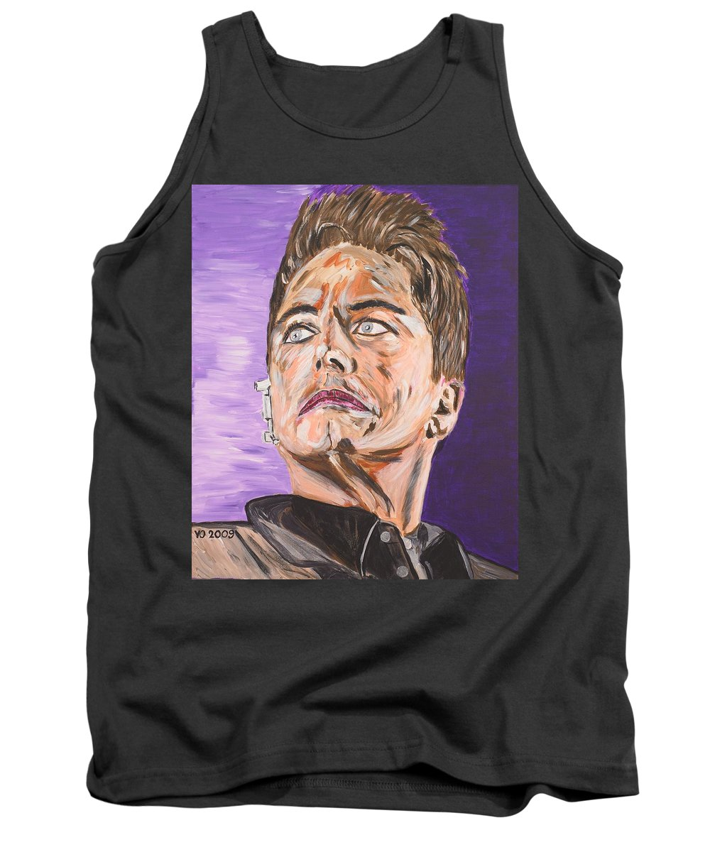 Torchwood Tank Top featuring the painting Captain Jack Harkness by Valerie Ornstein