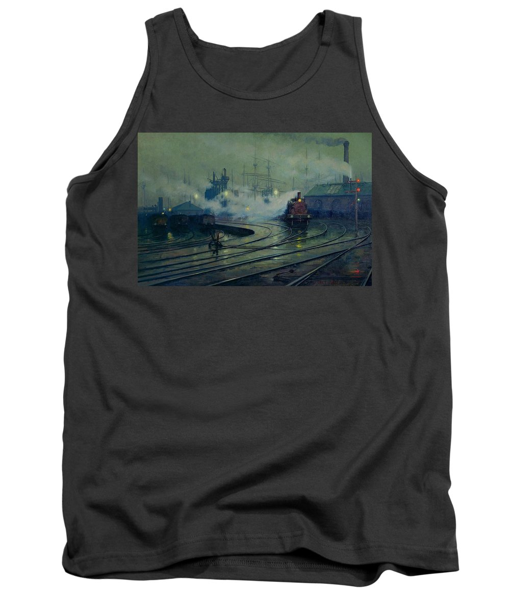Cardiff Tank Top featuring the painting Cardiff Docks by Lionel Walden
