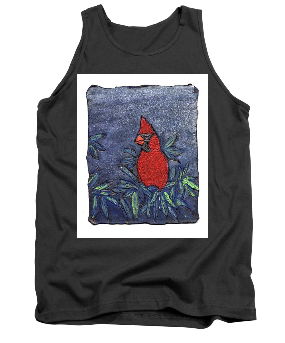 Bird Tank Top featuring the painting Cardinal In Winter by Wayne Potrafka