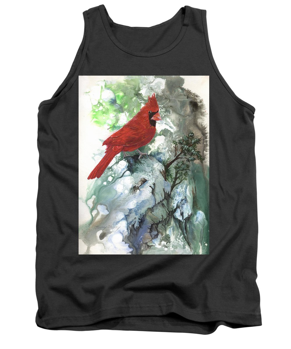 Bird Tank Top featuring the painting Cardinal by Sherry Shipley