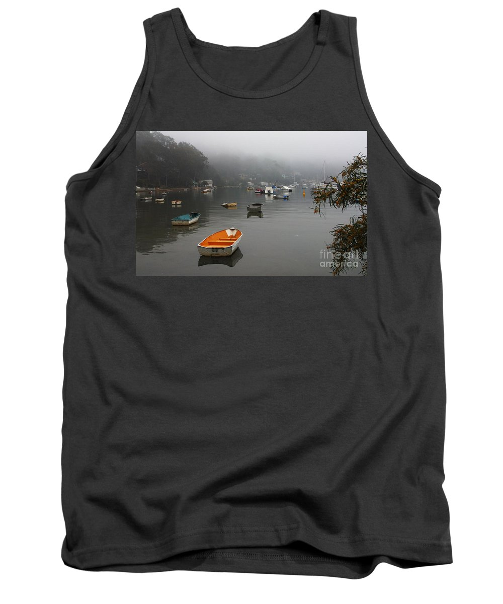Mist Tank Top featuring the photograph Careel Bay Mist by Sheila Smart Fine Art Photography