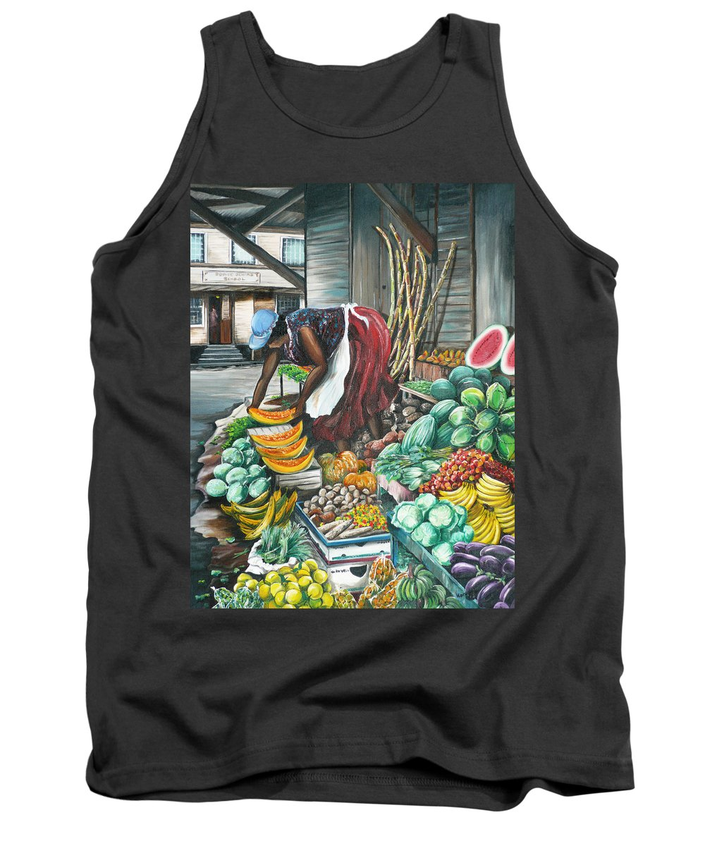 Caribbean Painting Market Vendor Painting Caribbean Market Painting Fruit Painting Vegetable Painting Woman Painting Tropical Painting City Scape Trinidad And Tobago Painting Typical Roadside Market Vendor In Trinidad Tank Top featuring the painting Caribbean Market Day by Karin Dawn Kelshall- Best