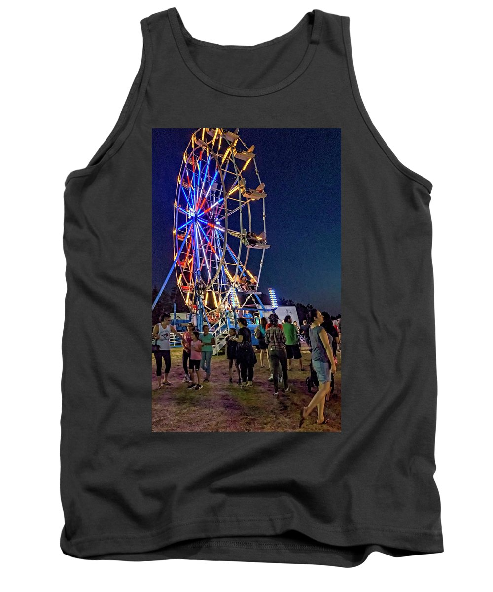 Bolton Fall Fair Tank Top featuring the photograph Carny Night 6 by Steve Harrington