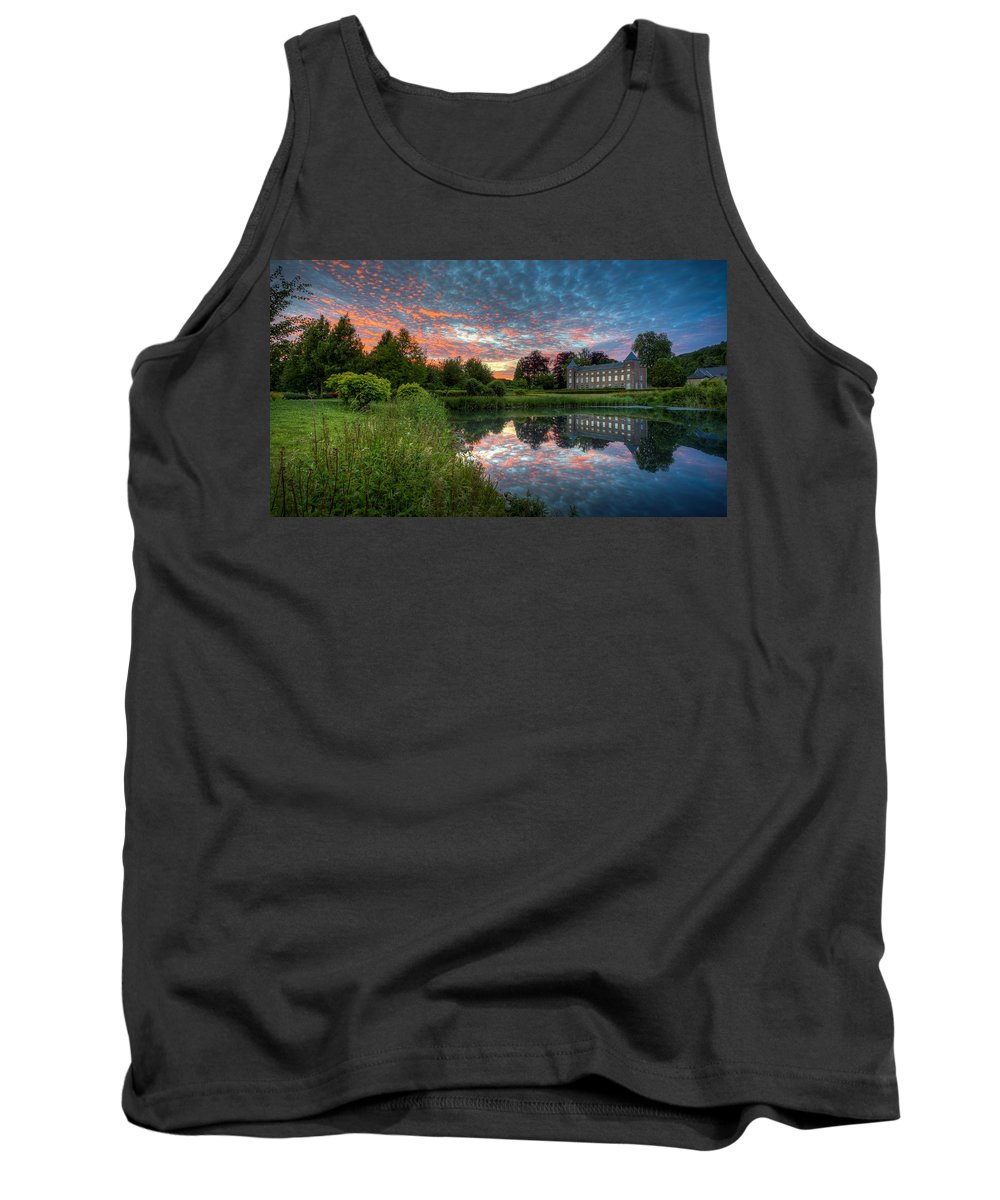 Castle Tank Top featuring the photograph Castle And Pond by Vincent Ferooz