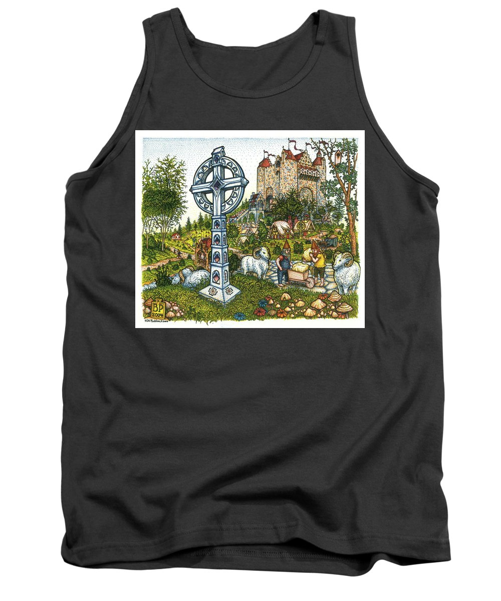 Castle Tank Top featuring the drawing Castle Cross by Bill Perkins