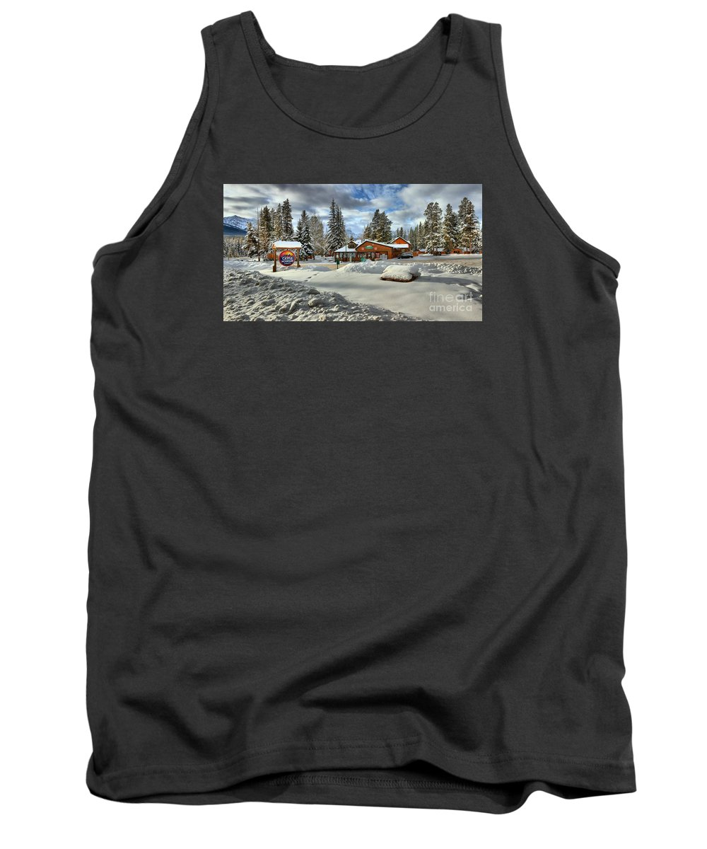 Castle Mountain Chalets Tank Top featuring the photograph Castle Mountain Chalets Panorama by Adam Jewell