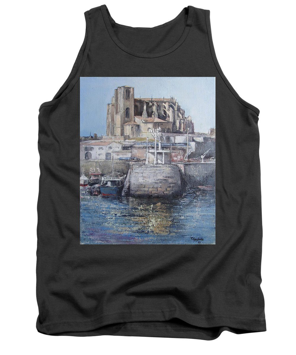 Castro Tank Top featuring the painting Castro Urdiales by Tomas Castano