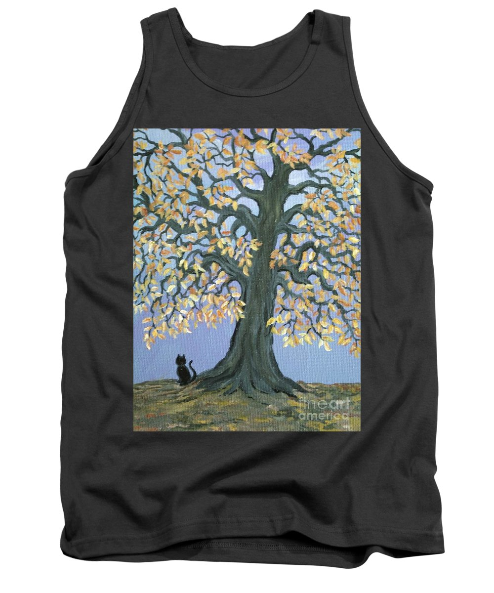 Cat Tank Top featuring the painting Cat And Crow by Nick Gustafson