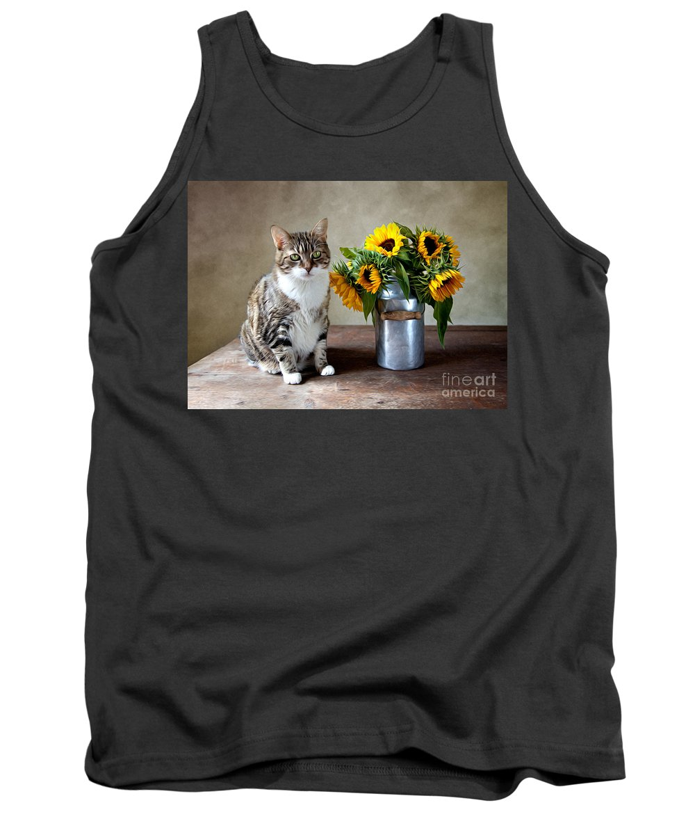 Cat Tank Top featuring the painting Cat And Sunflowers by Nailia Schwarz
