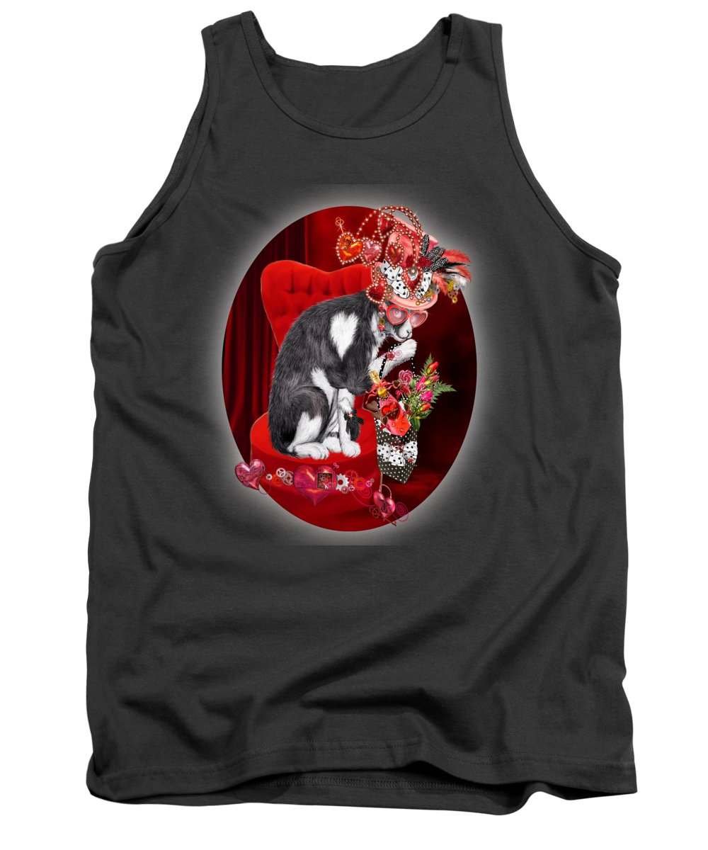 Cat Tank Top featuring the mixed media Cat In The Valentine Steam Punk Hat by Carol Cavalaris