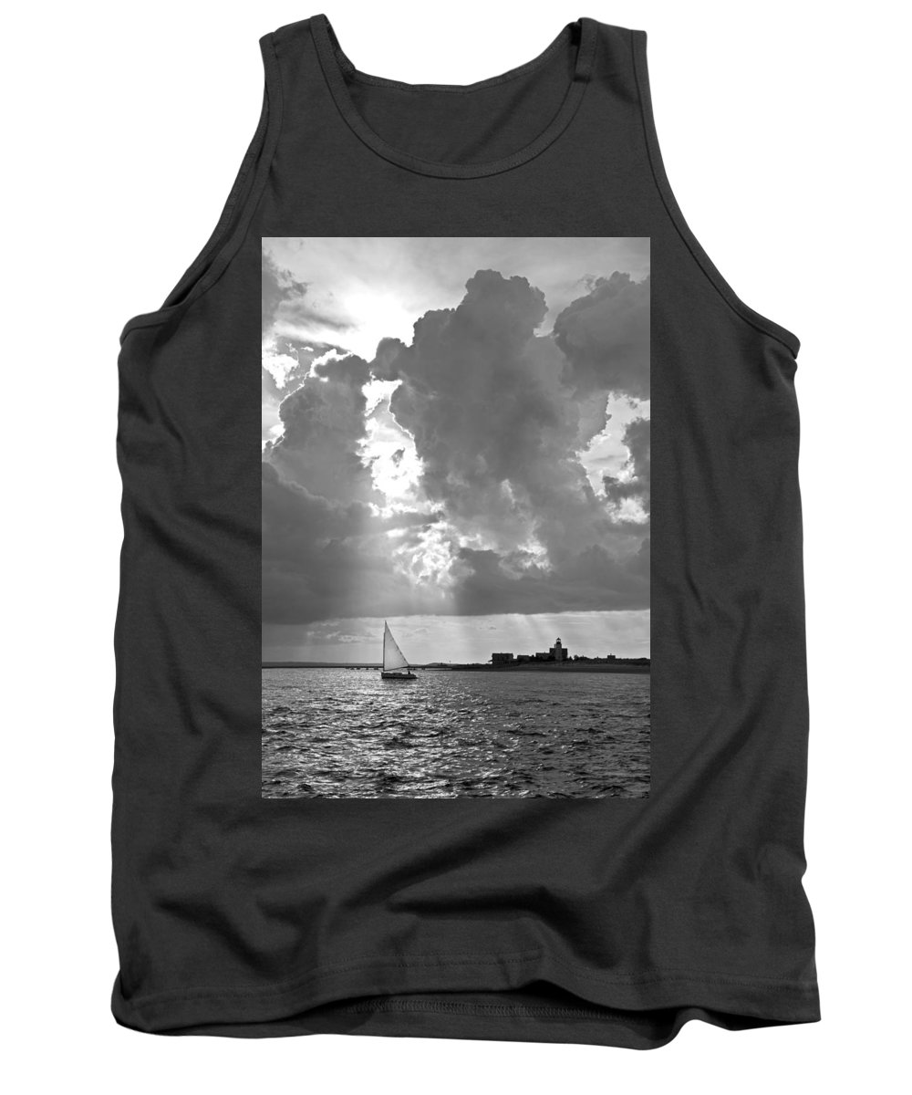 Catboat Tank Top featuring the photograph Catboat In Barnstable Harbor by Charles Harden