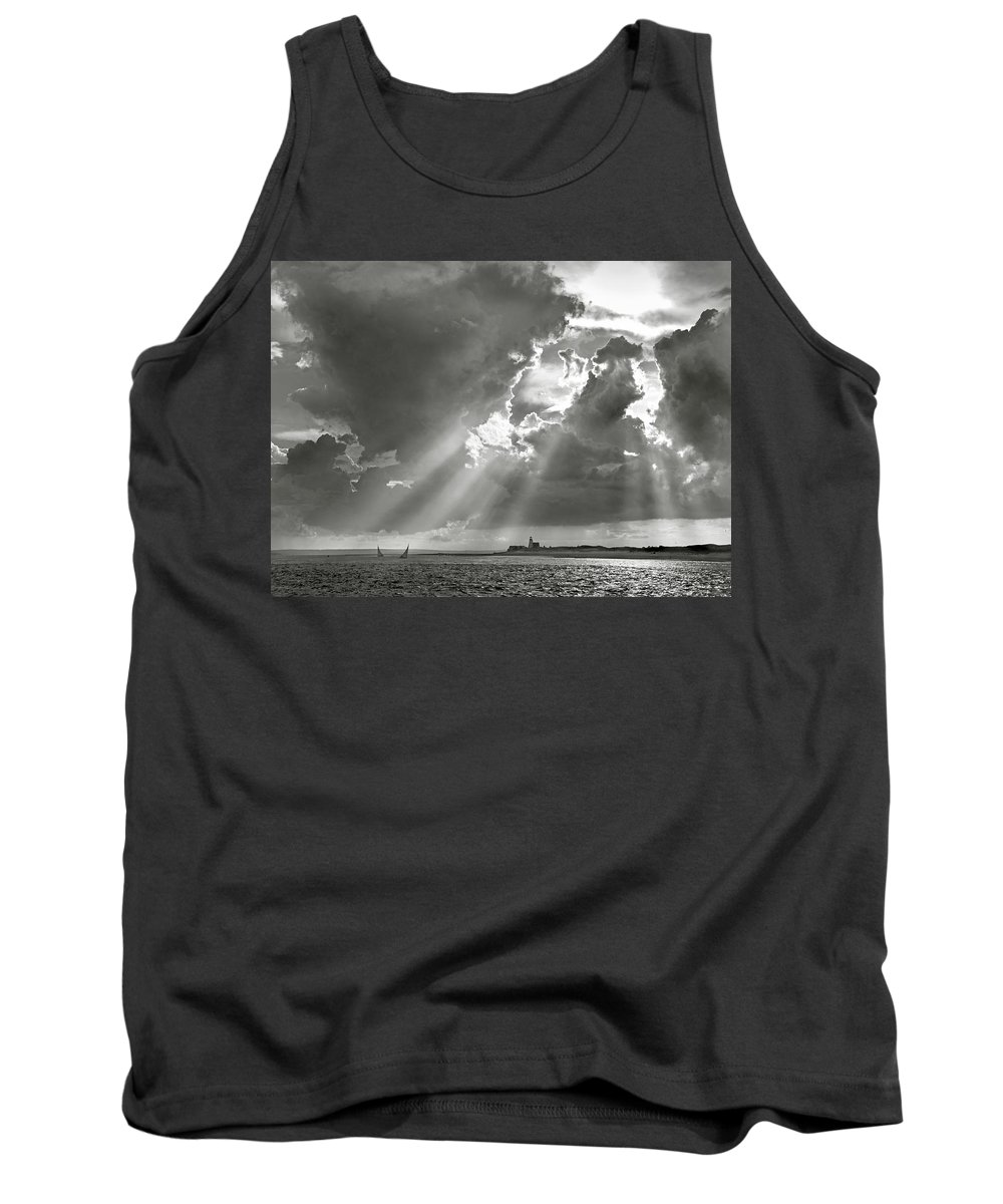 Catboats Tank Top featuring the photograph Catboats Sailing In Barnstable Harbor by Charles Harden