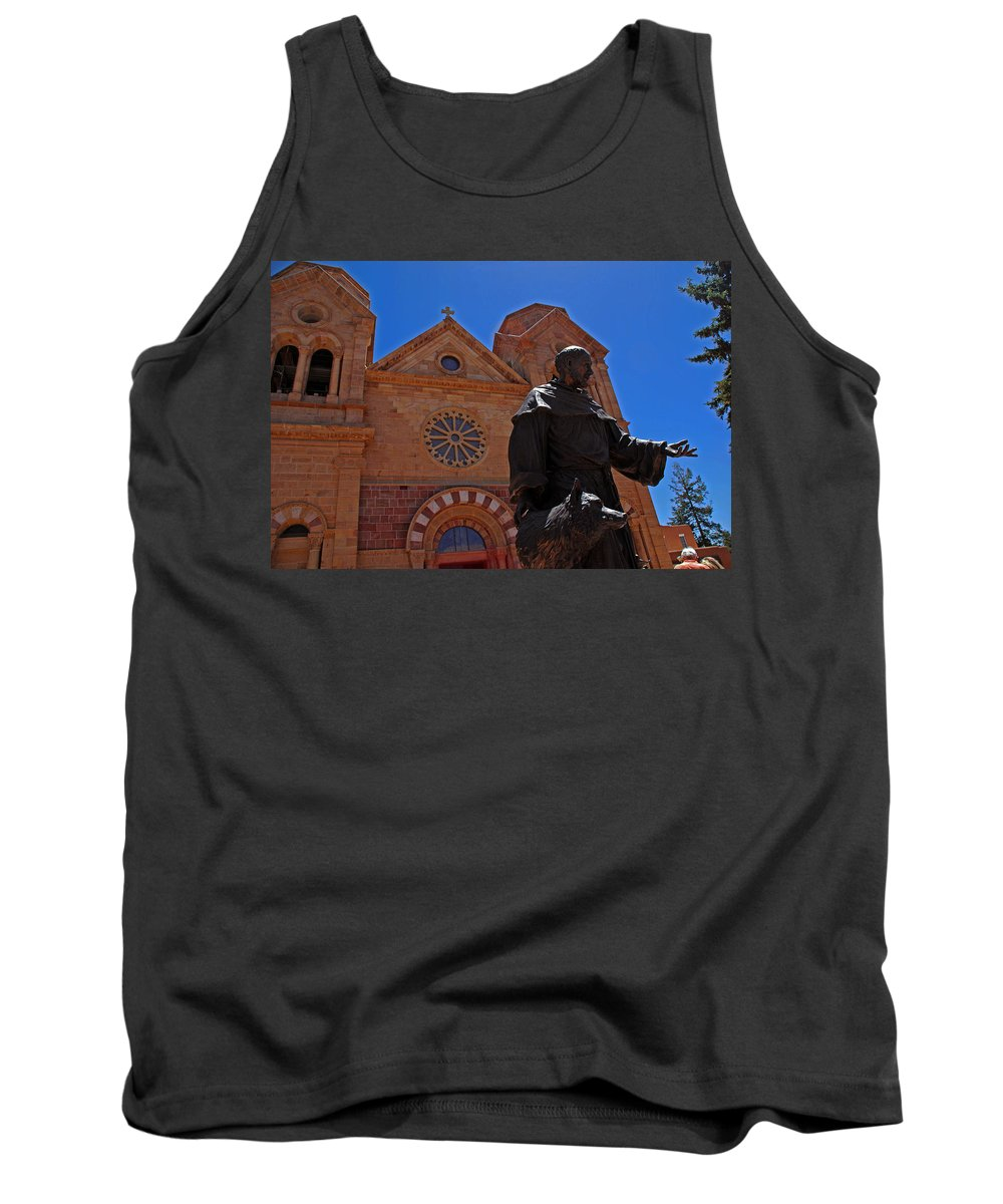 Architecture Tank Top featuring the photograph Cathedral Basilica In Santa Fe by Susanne Van Hulst