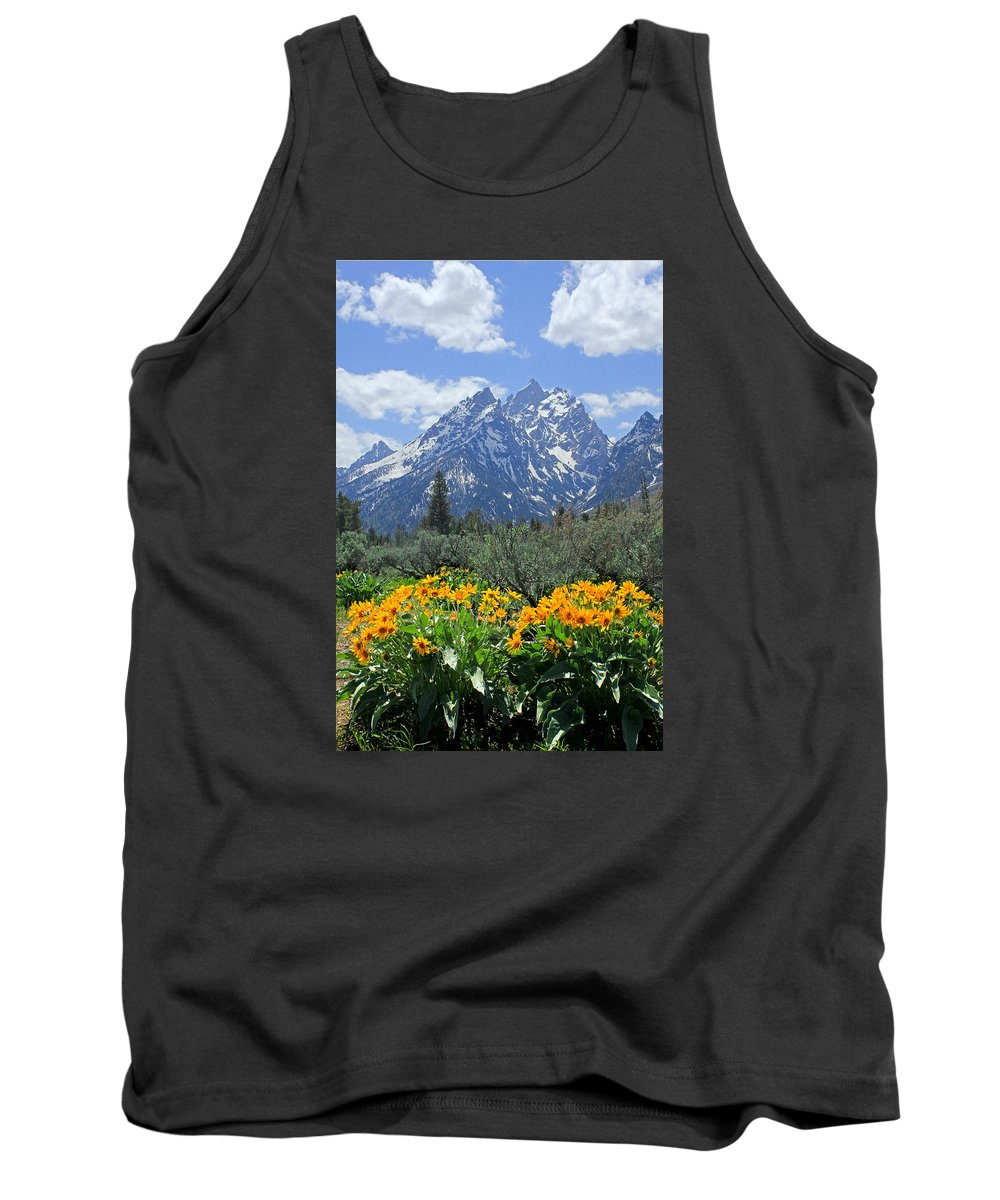 Mt. Moran Tank Top featuring the photograph Dm9328-cathedral Group Tetons by Ed Cooper Photography