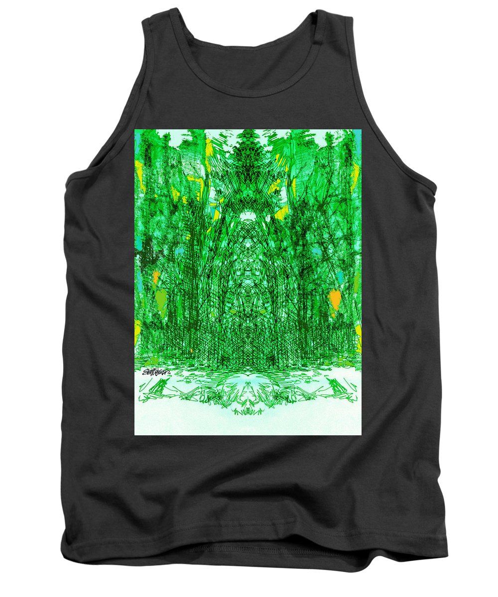 Cathedral Tank Top featuring the digital art Cathedral Of Trees by Seth Weaver