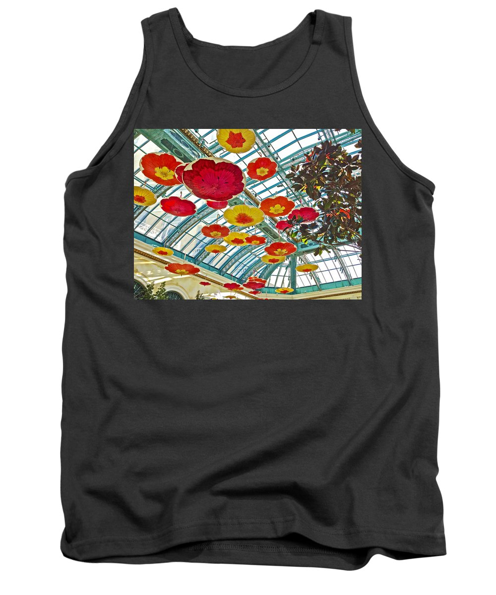 Ceiling Ofin Bellagio Conservatory In Las Vegas Tank Top featuring the photograph Ceiling Of Bellagio Conservatory In Las Vegas-nevada by Ruth Hager