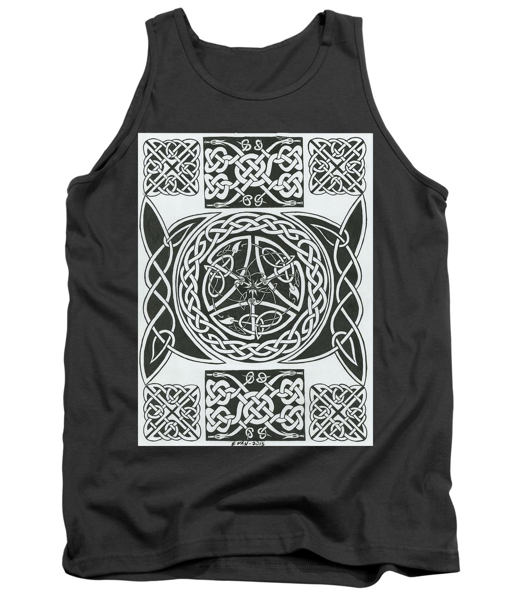 Celtic Knots Tank Top featuring the drawing Celtic Design by Michael E Kelly
