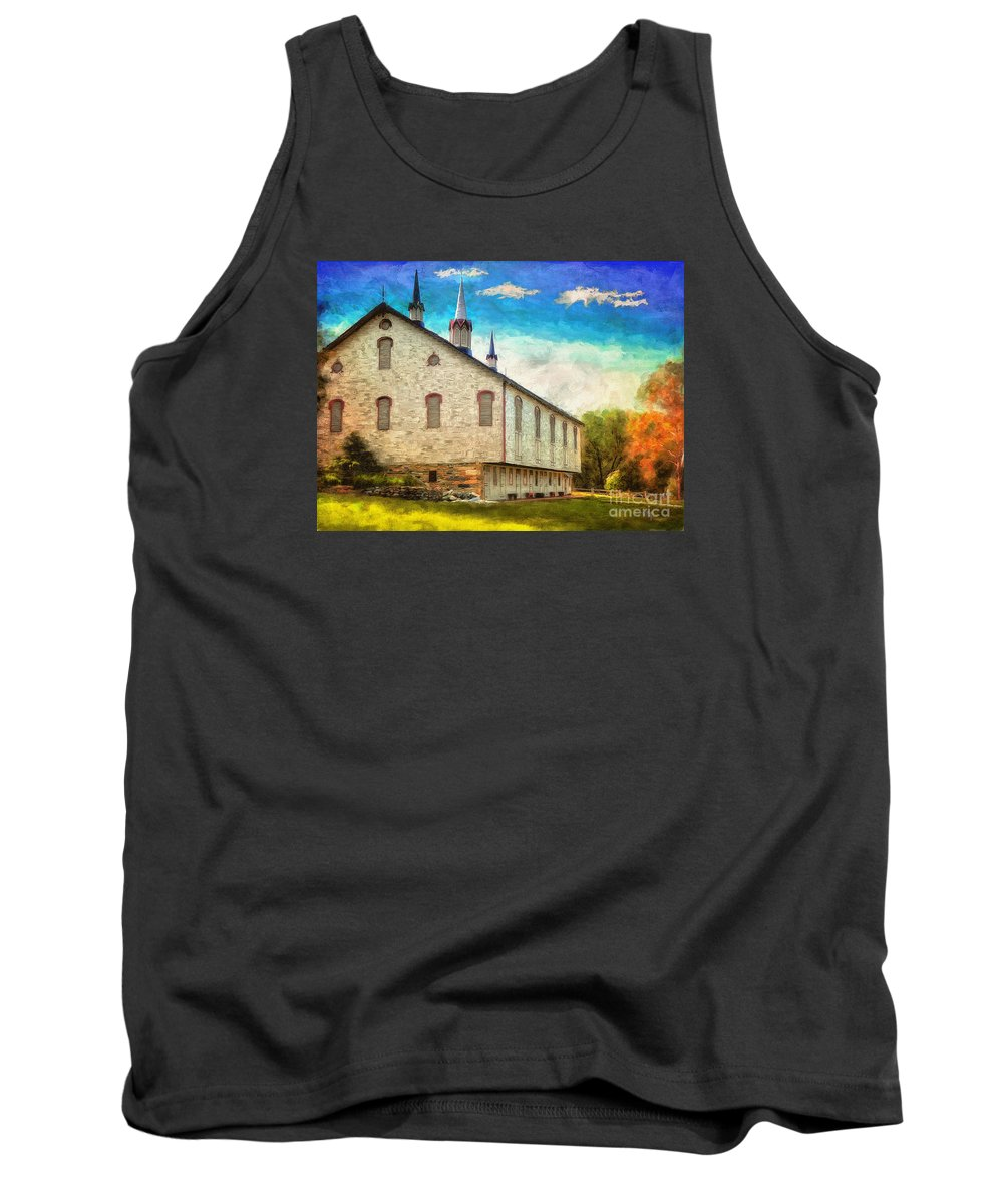 Lois Bryan Tank Top featuring the digital art Centennial Barn by Lois Bryan