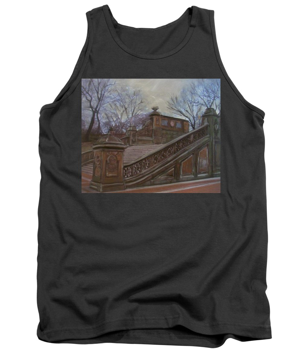 Central Park Tank Top featuring the painting Central Park Bethesda Staircase by Anita Burgermeister