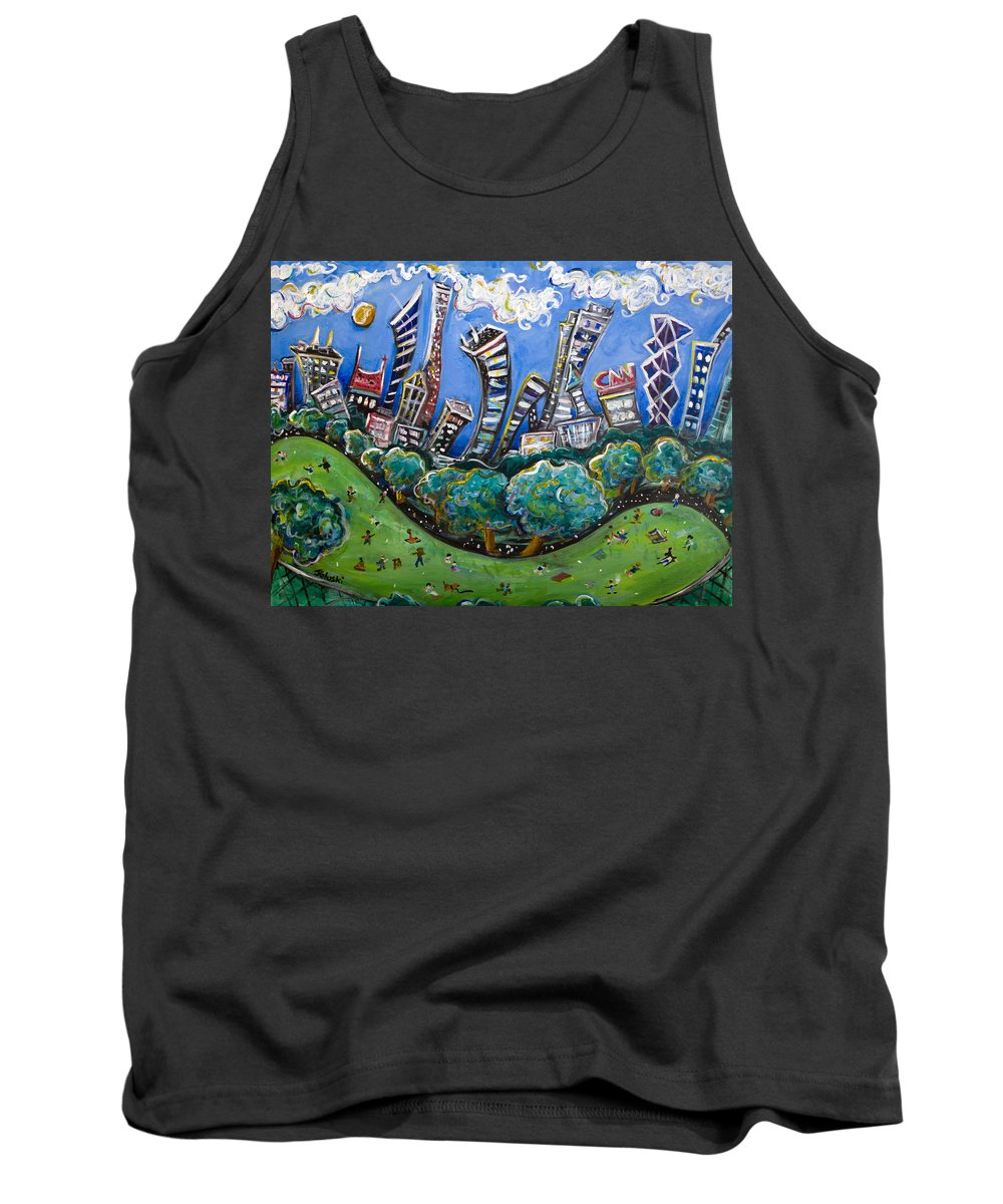 New York City Tank Top featuring the painting Central Park South by Jason Gluskin