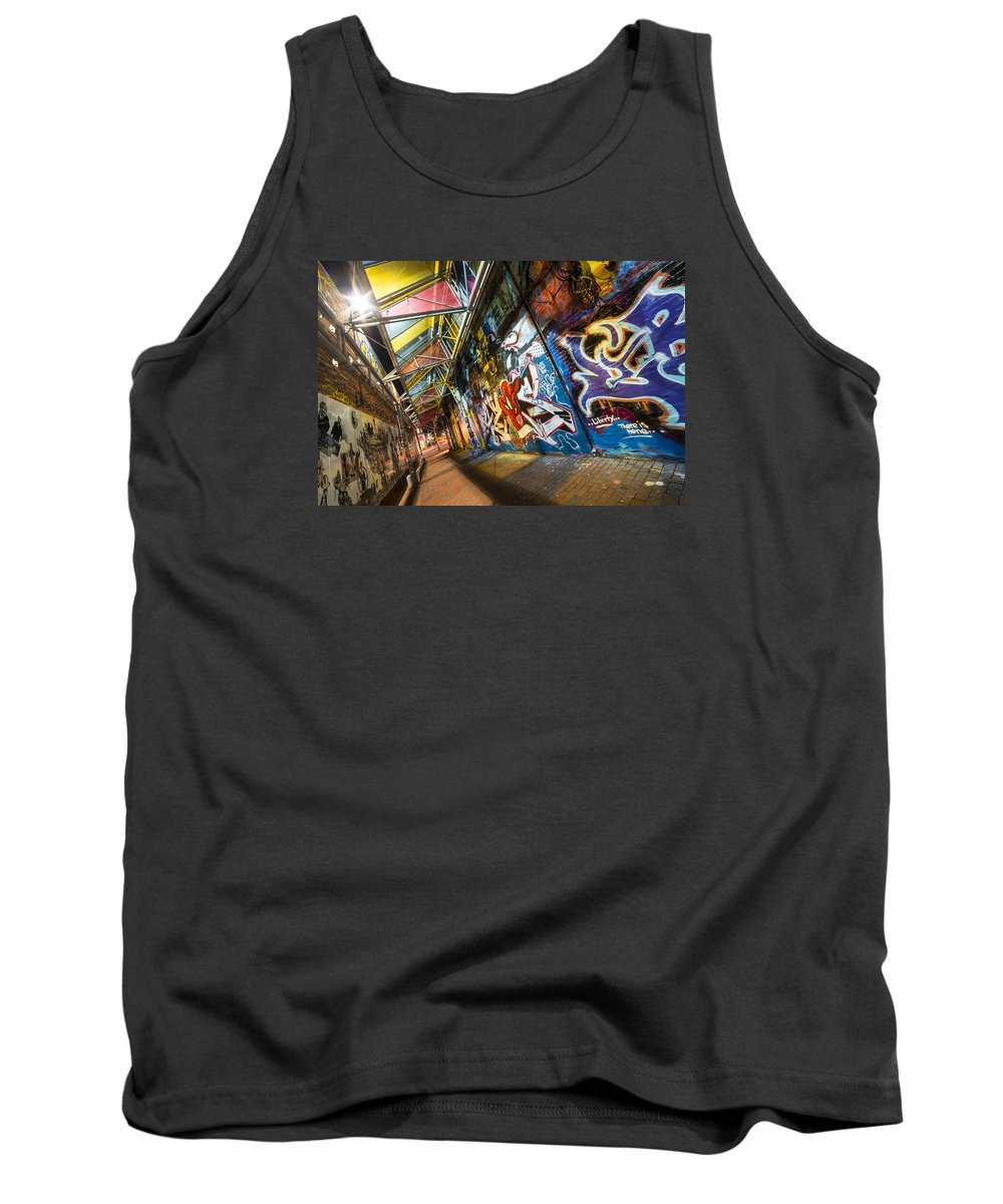 Central Tank Top featuring the photograph Central Square Graffiti Corridor Cambridge Ma by Toby McGuire