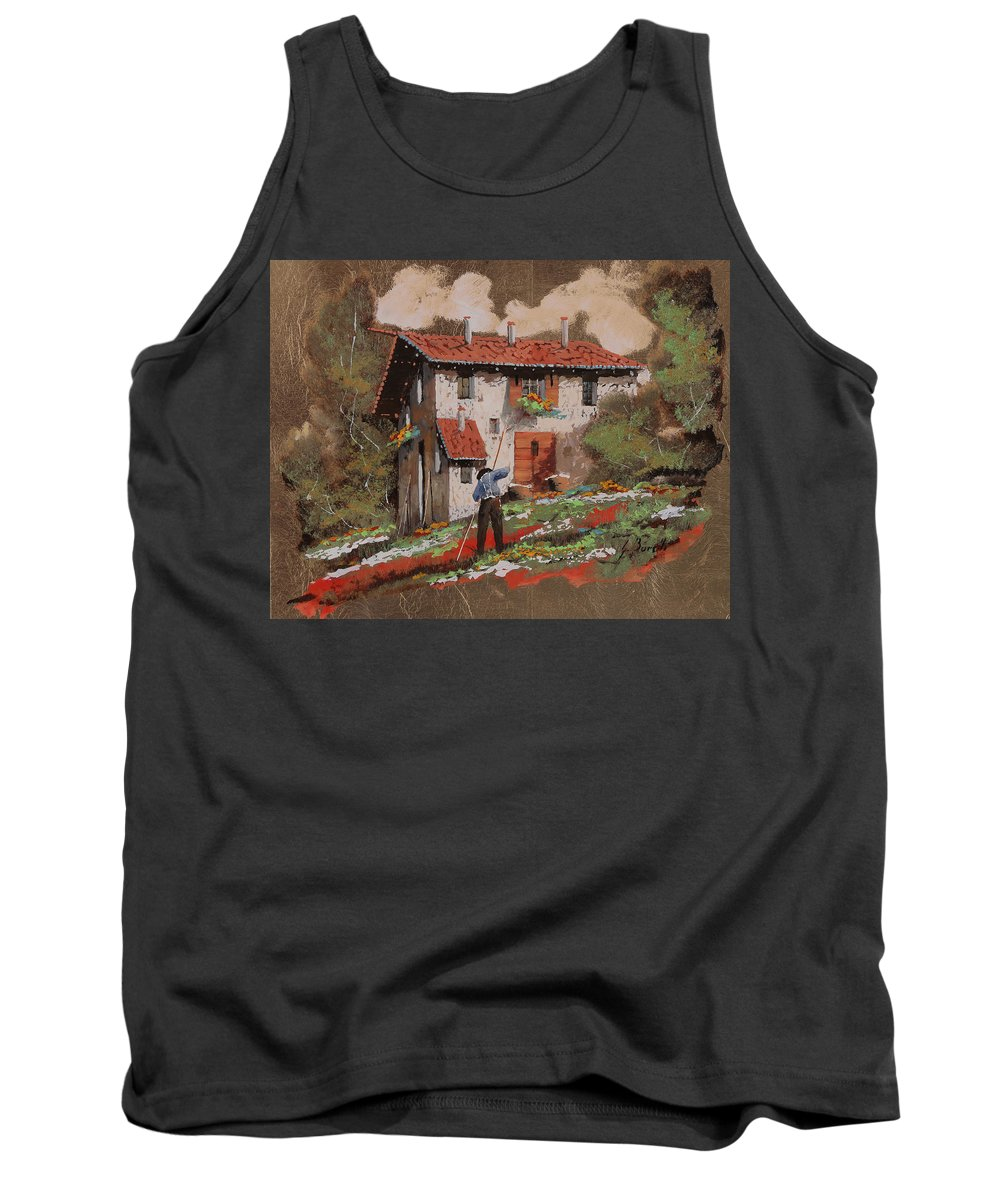 Miniature Tank Top featuring the painting Cercando Tra Le Foglie by Guido Borelli