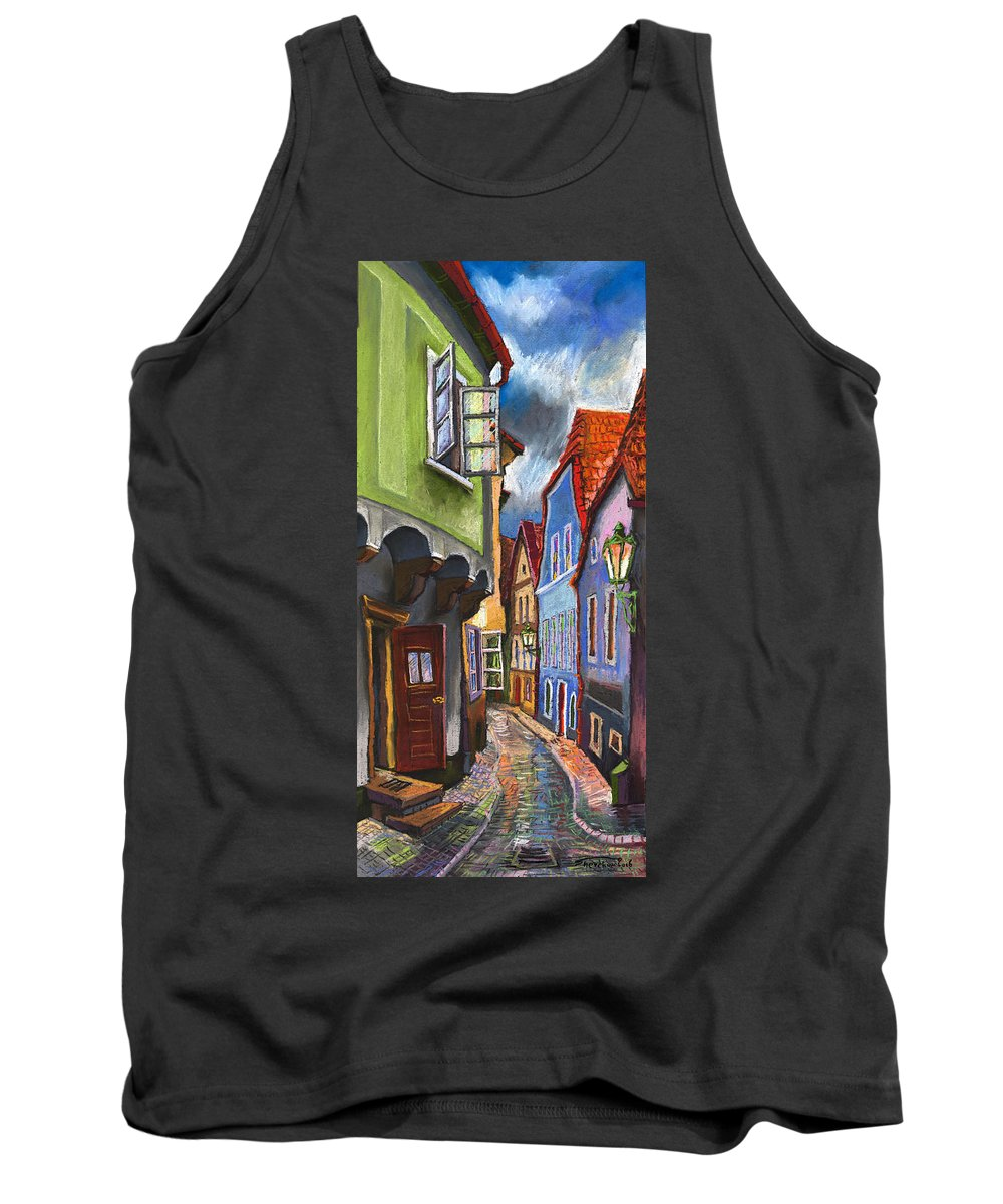 Pastel Chesky Krumlov Old Street Architectur Tank Top featuring the painting Cesky Krumlov Old Street 1 by Yuriy Shevchuk
